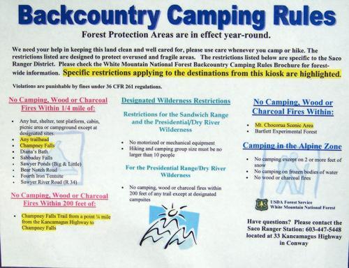 Kancamagus Camping Backcountry